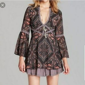 Free People Moonlight Bay Bell Sleeve Mini Dress